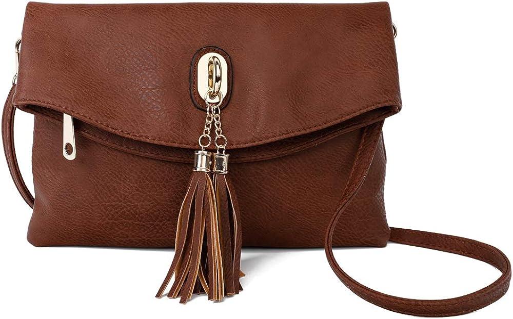 Women PU Leather Wristlet Wallet Clutch Purse Crossbody Shoulder Bag