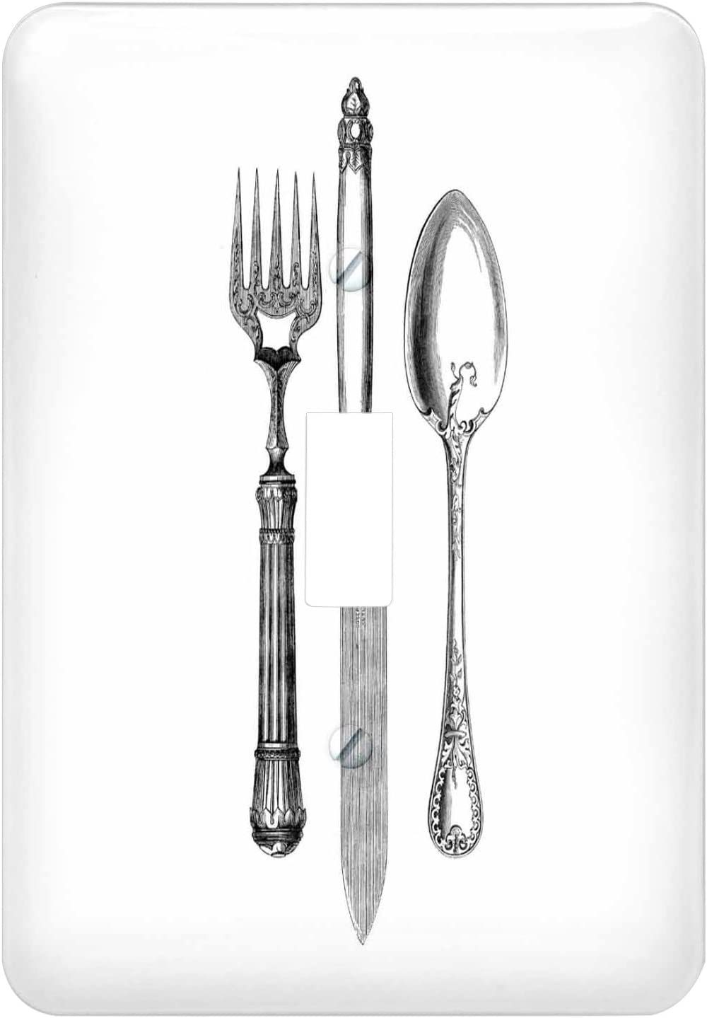 3drose Lsp 161556 1 Black And White Vintage Cutlery Set Fancy Fork Knife And Spoon Drawing Restaurant Kitchen Chef Single Toggle Switch Amazon Com