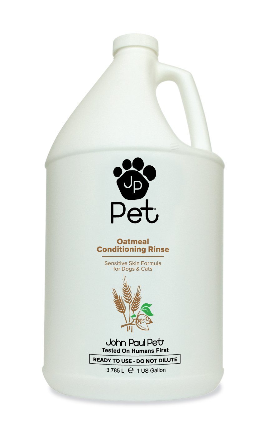 John Paul Pet Oatmeal Conditioning Rinse for Dogs and Cats, Soothing Sensitive Skin Formula, Moisturizes and Revitalizes Dry Skin and Fur, 1-Gallon by John Paul Pet