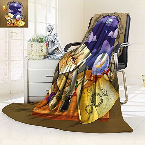 YOYI-HOME Heavy Duplex Printed Blanket Castle Window with Crystal Ball Clouds Parchment Teal Grey White and Purple Anti-Static,2 Ply Thick,Hypoallergenic/W47 x H69 by YOYI-HOME