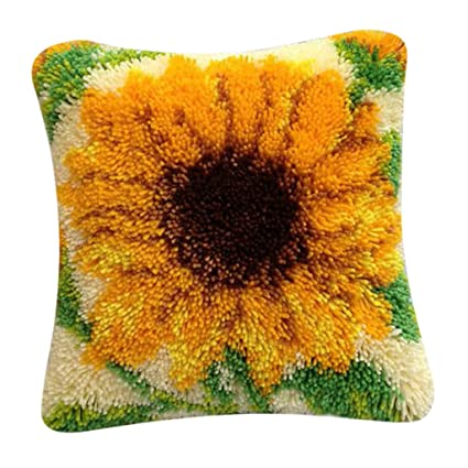 Handmade Embroidery Flower Cushion Latch Hooking Kits CUTICATE DIY Latch Hook Rug Kit for Beginners