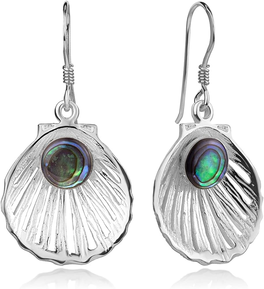Brightt Abalone Dangle Style .925 Sterling Silver Earrings