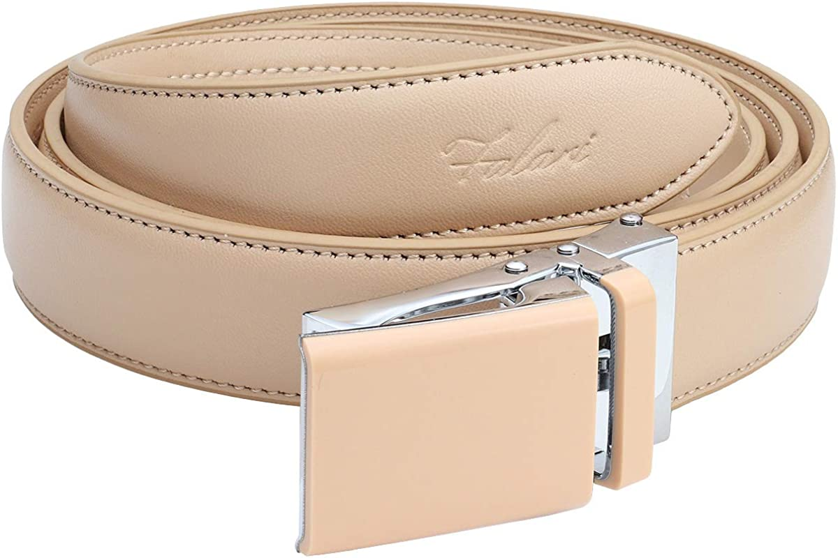 Falari Automatic Ratchet Belt for Women Kids Boys and Girls Multicolor Genuine Leather Belt Trim to Fit