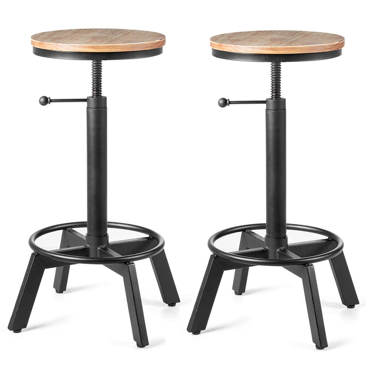 COSTWAY Industrial Bar Stool, Antique Vintage Round Stool, 33-Inch Height Adjustable Backless Swivel Counter Furniture Metal, Modern Wooden Barstools, Ideal for Cafe, Pub, Home Black, Set of 2