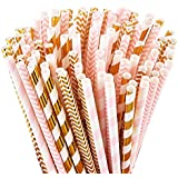 Biodegradable Paper Straws, 100 Pink Straws/Gold Straws for Party Supplies, Birthday, Wedding, Bridal/Baby Shower Decorations and Celebrations