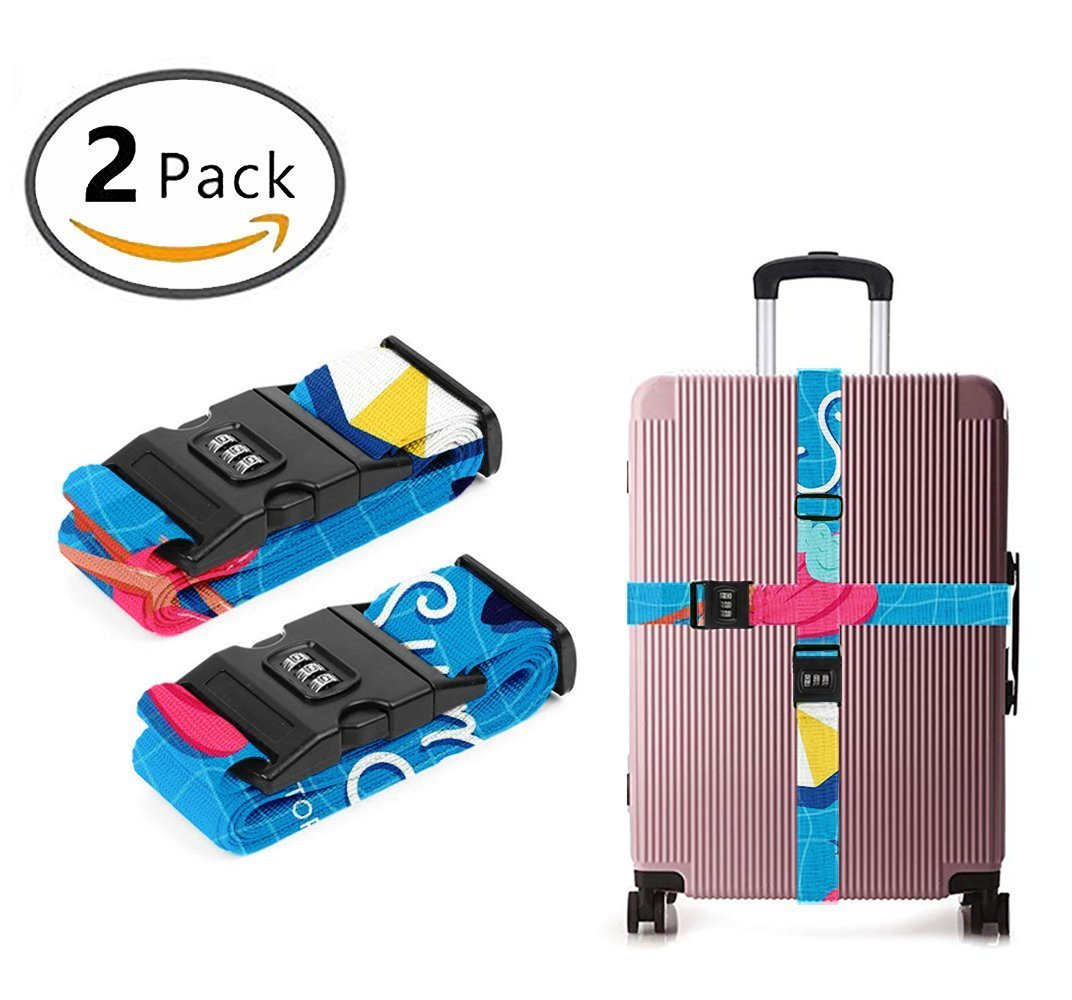 YEAHSPACE Summer Pool 2-PC Set Travel Luggage Strap TSA Approved Lock Heavy Duty Suitcase Belts