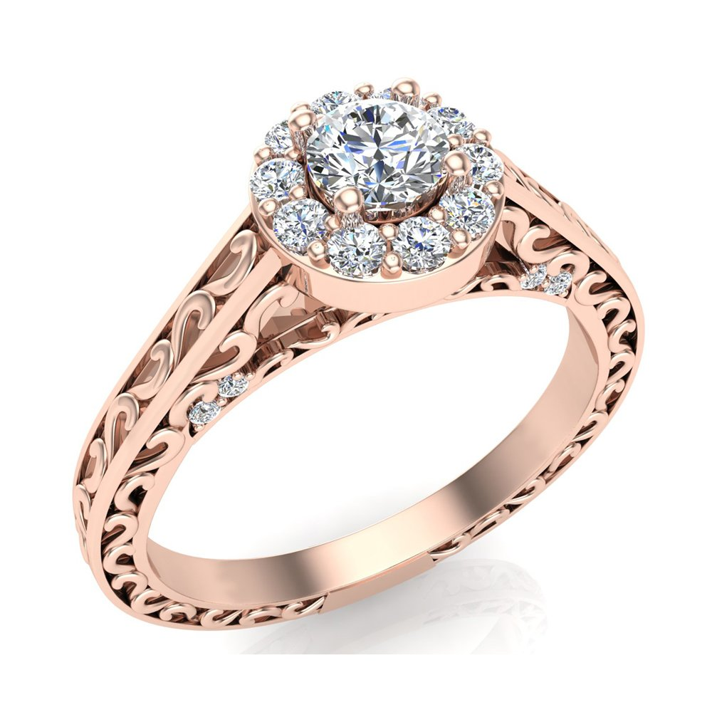 0.40 ct tw Vintage Style Halo Diamond Promise Ring 14K Rose Gold (Ring Size 5) by Glitz Design