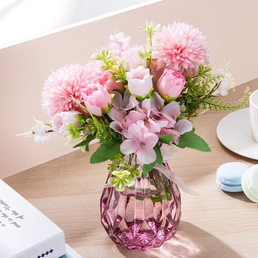 MALOOW 2pcs Artificial Flowers Bouquet with Vase Fake Peony Silk Hydrangea Wildflowers, Flower Centerpieces Home Decor for Tables with Vase (Small Pink)