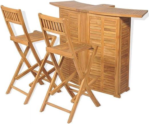 Tidyard Conjunto Muebles Balcón Set Mesa y sillas Plegables bistró de jardín 3 pzas Teca Maciza: Amazon.es: Hogar