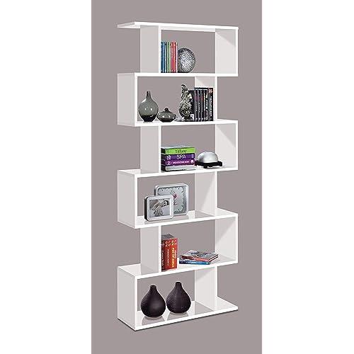Ziggy WHITE Gloss Bookcase Room Divider Shelving Modern Stylish Living Office