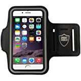 SMART SHIELD® iPhone 7 / iPhone 6 / iPhone 6s / (4.7 inch) Ultra Soft Adjustable Gym Workout & Sports Armband for Running, Biking, Hiking, Canoeing, Walking, Horseback Riding and other Sports (iPhone 7, 6s, 6, Black)