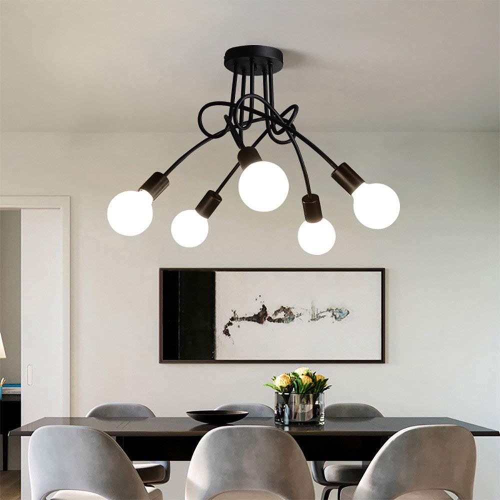 Luminaire Plafonnier Led Industriel E27 Lustre Suspension Design Moderne Avec 5 Tetes Eclairage Decor Pour Salon Cuisine Couloir Chambre Blanc Ameublement Et Decoration Cuisine Maison