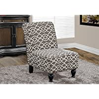 Monarch Specialties Brown Bell Pattern Fabric Traditional Accent Chair, 34-Inch