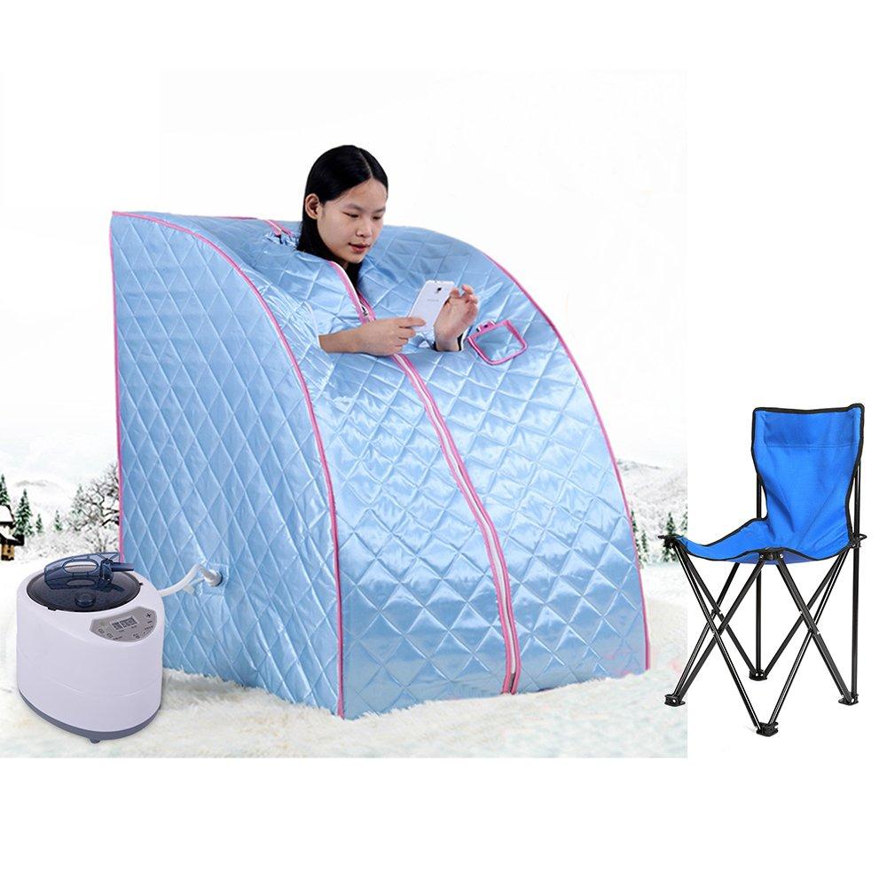 Sauna infrarouge pliable cabine à chaleur Thérapeutique Spa 1200W Bleu POPSPARK