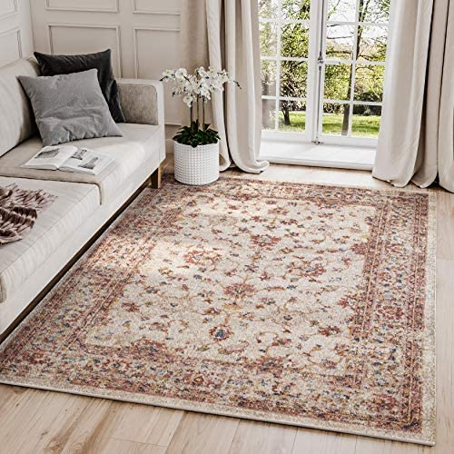 Traditional Beige Red 7 9 x 10 2 Area Rug