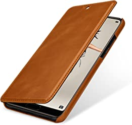StilGut Book Type Case, Custodia per Huawei P20 a Libro Booklet in Vera Pelle con Funzione on/off