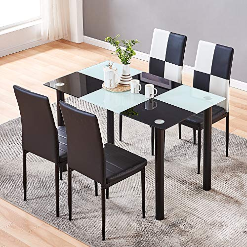 aHUMANs Dining Table with Chairs, 5 PCS Glass Dining Kitchen Table Set Modern Tempered Glass Top Table and PU Leather Chairs with 4 Chairs Dining Room Furniture Black and White