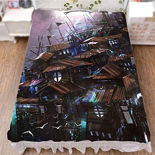 iPrint Bedding Bed Ruffle Skirt 3D Print,Wooden Castle with Circular Windows Architecture,Fashion Personality Customization adds Color to Your Bedroom. by 47.2''x78.7'' by iPrint (Image #3)