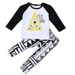 HANYI Newborn Baby T-Shirt +Geometric Print Pants Boys Suit (3T, White)