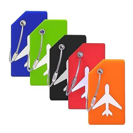 Amazon.com: Paquete de 5 etiquetas de silicona para equipaje ...