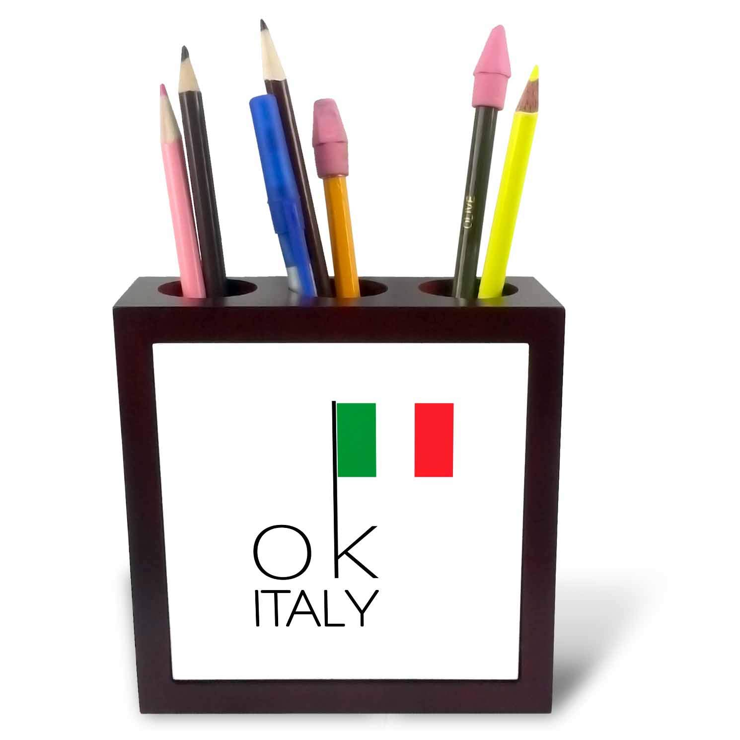 3dRose Alexis Design - OK Country - Stylish Text OK Italy and an Image of The Italian Flag - 5 inch Tile Pen Holder (ph_292337_1)