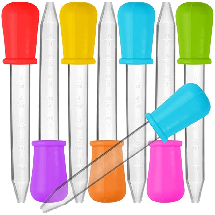 8 Pcs Liquid Droppers, SENHAI Silicone and Plastic Pipettes Transfer Eyedropper with Bulb Tip for Candy Oil Kitchen Kids Gummy Making - 7 Colors