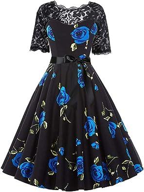 mounter- Damska Kleid mit Spitze, Blumenmuster, Kurze Ärmel, V-Ausschnitt, Vintage-Stil, Partykleid, 1950er-Jahre, Elegantes Plissee-Kleid: Schuhe & Handtaschen