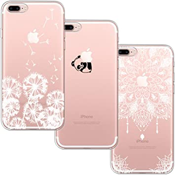 [3 Pack] Funda iPhone 7 Plus,Funda iPhone 8 Plus,Funda de Silicona Blossom01 Ultra Suave Funda TPU Silicona con Dibujo Animado Lindo para iPhone 7/8 ...