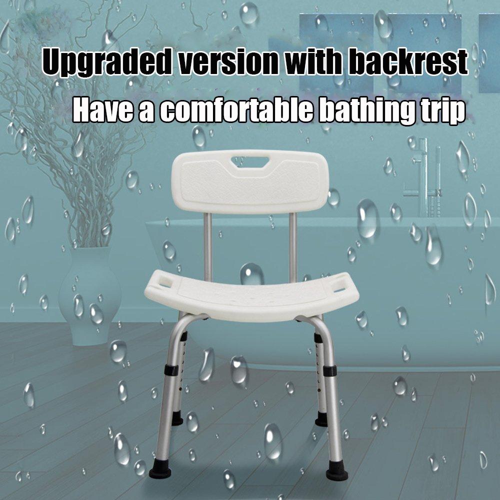 Amazon.com: XIHAA Anti-Slip Backrest Shower Stool, By Adjustable ...