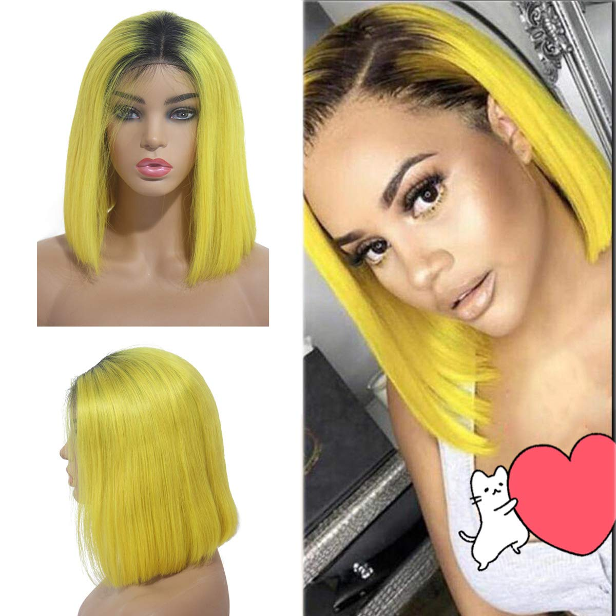 Licoville Yellow Ombre Bob Wig Lace Frontal