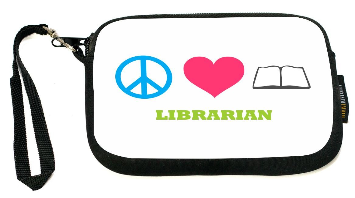 UKBK Peace Love Librarian Neoprene Clutch Wristlet with Safety Closure - Ideal case for Camera, Universal Cell Phone Case etc.