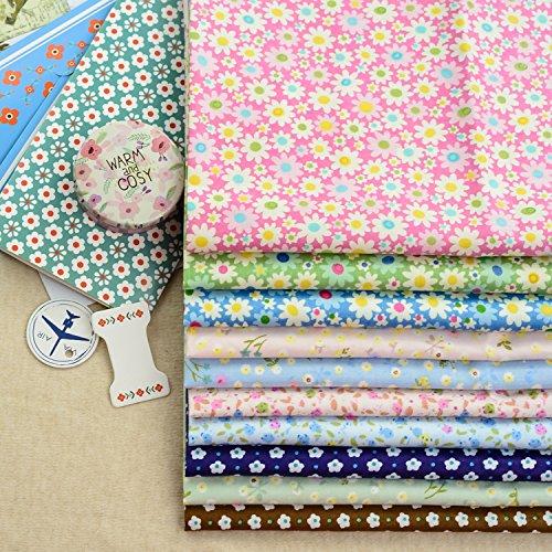 Floral Cotton Fabric Quilt Fabric Fat Quarter Bundle Fresh Color Sewing Handmade DIY Fabric Material 10 Designs Size 40cm x 50cm