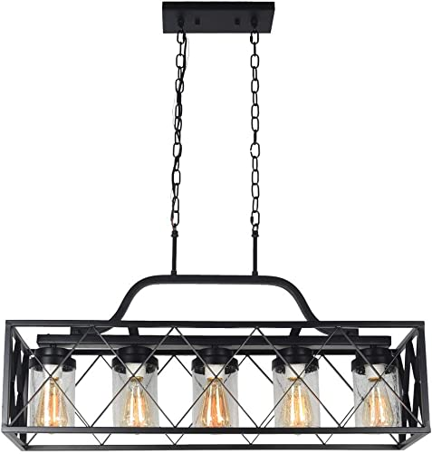 Baiwaiz Black Dining Room Chandelier Light with Clear Seeded Glass Shade, Industrial Kitchen Island Chandelier Lighting Rectangle Chandelier Cage Pendant Light Fixture 5 Lights Edison E26 096