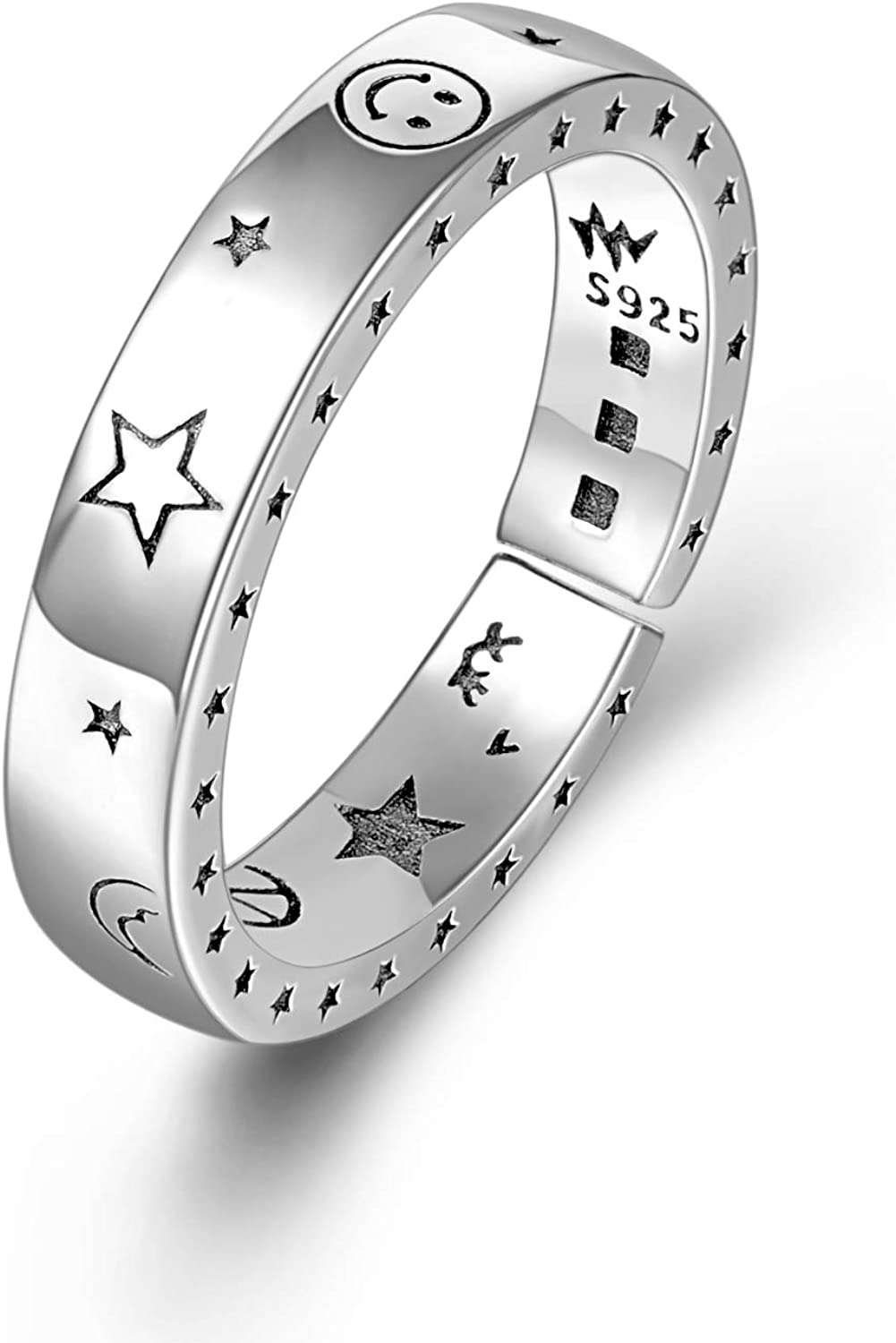Moon Star Spinner Band Ring 925 Sterling Silver Boho Handmade Jewelry