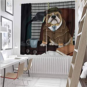 Mozenou English Bulldog Fun Curtains Traditional English Detective Dog with a Pipe and Hat Sherlock Holmes Image Suitable for Any Room Scene Multicolor