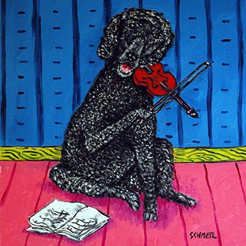 Poodle playing Violin Dog art tile coaster gift