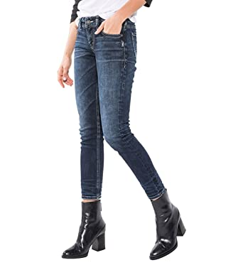 ff6c7308 Amazon.com: Silver Jeans Co. Women's Elyse Mid Rise Ankle Slim Jeans:  Clothing