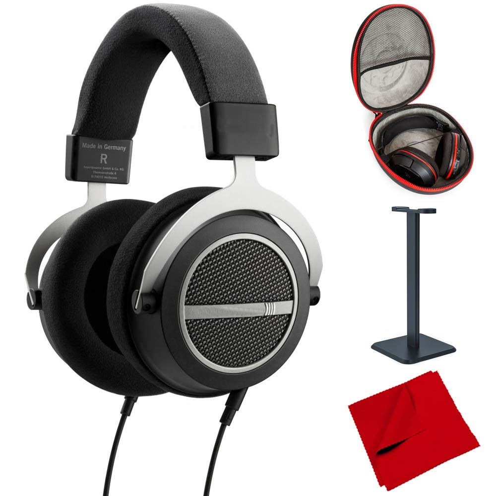 beyerdynamic Amiron Home Tesla High-End Audiophile Stereo Headphones 250 OHM (717525) with Full Size Headphone Case, Headphone Stand & Microfiber Cleaning Cloth