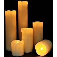 "Best Flameless Timer LED Candles - Slim Set of 6, 2"" Wide and 2""- 9"" Tall, Ivory dripping Wax and Flickering Amber Yellow Flame by LED Lytes Flameless Candles Product I"