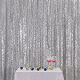 3E Home 7FT x 7FT Sequin Photography Backdrop Curtain for Party Decoration, Silver