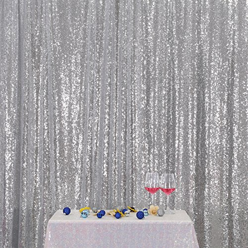 Wedding Silver Photograph - 3e Home 7FT x 7FT Sequin Photography Backdrop Curtain for Party Decoration, Silver