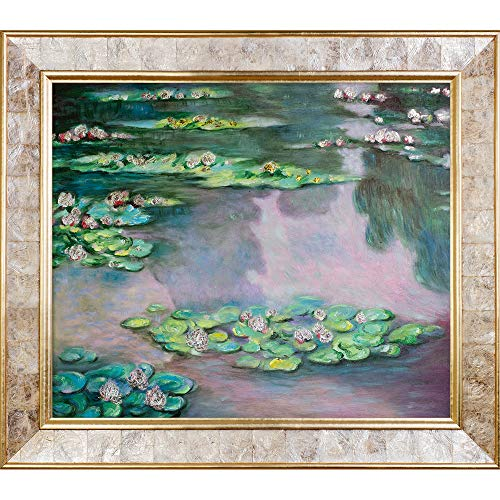 La Pastiche Water Lilies, Green And Violet Metallic Embellished Artwork By Claude Monet With Gold Mother Of Pearl - Pearl Mother Of Monet