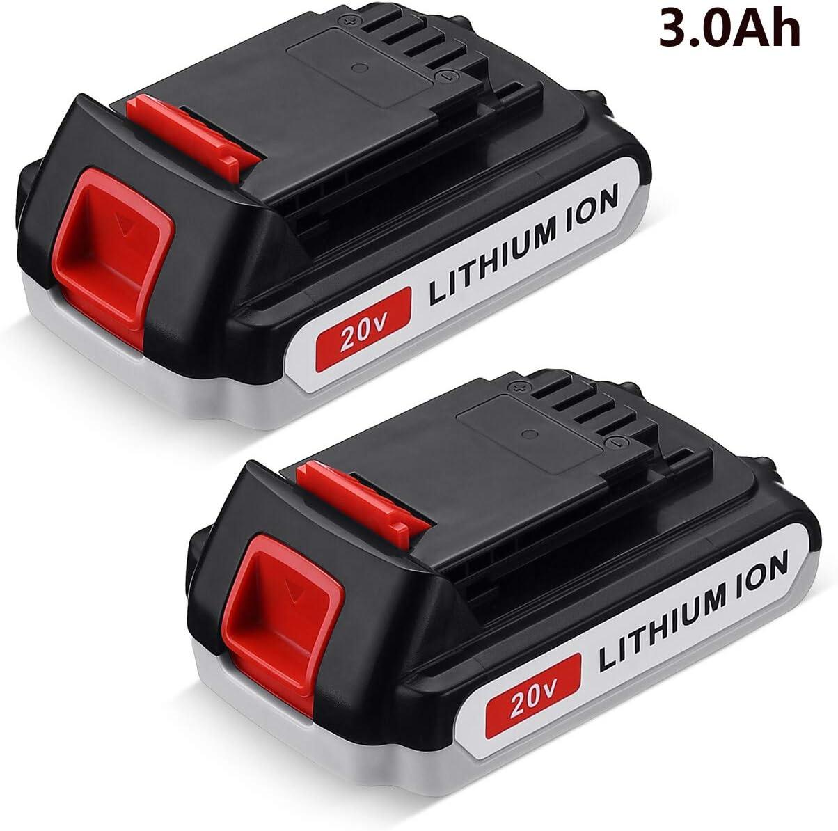 FirstPower LBXR20 3000mAh Replace for Black+Decker 20V MAX Lithium Battery LB20 LBX20 LST220 LBXR2020-OPE LBXR20B-2 LB2X4020 Cordless Tool Battery Extended Run Time 2-Packs