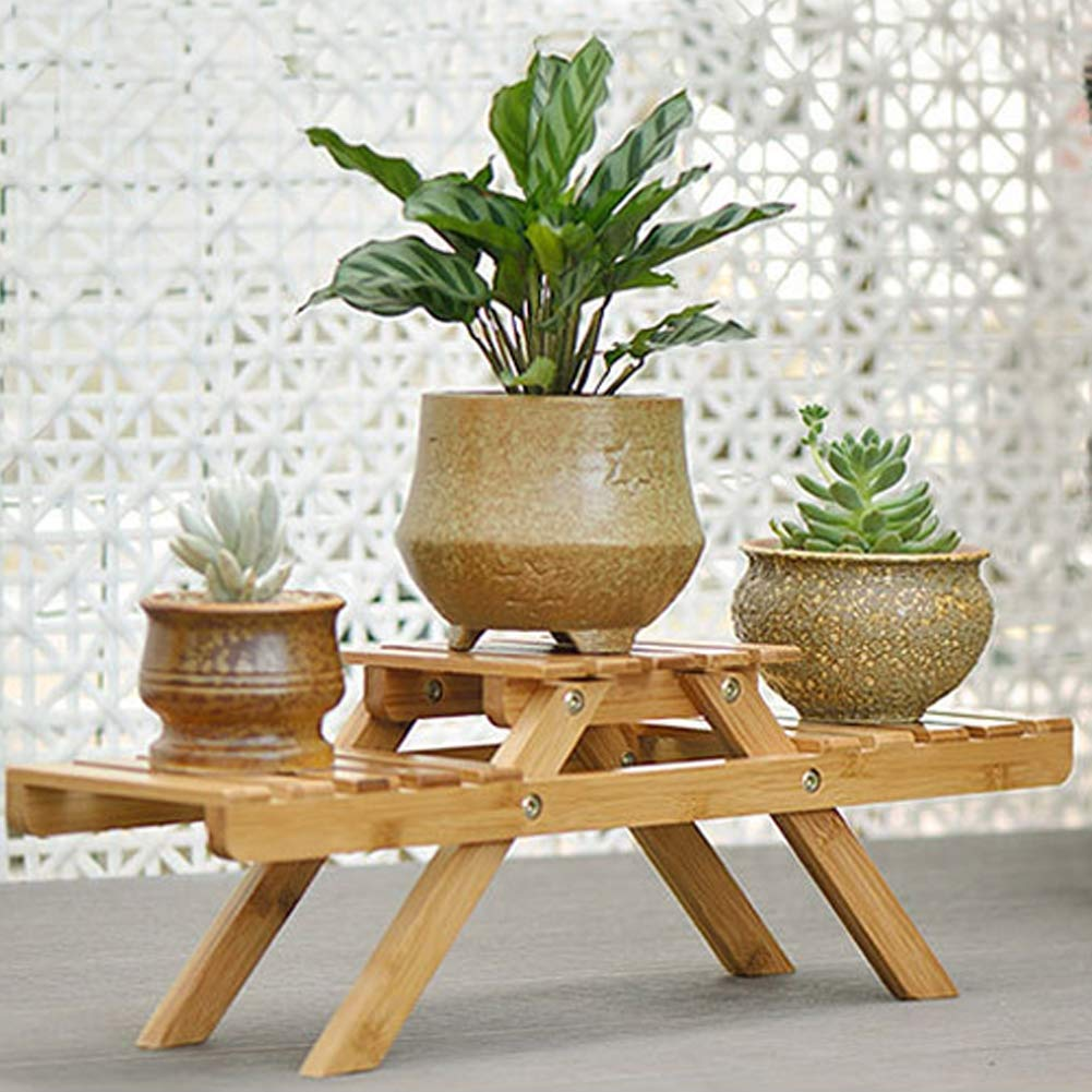 SHIJING Multi-Layer Folding Flower Stand Balcony Rack Flower Shelf Solid Wooden Floor Living Room Office Succulent Flower Pot Rack