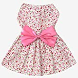 Elisona-Sweet Flower Style Pet Dog Skirt Dress Clothes Costume Apparel with Large Bowknot Ornament for Daily Party Wedding Holiday Pink Size XL