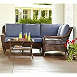 Spring Haven Brown All-Weather Wicker 5-Piece Patio Sectional Seating Set with Sky Cushions