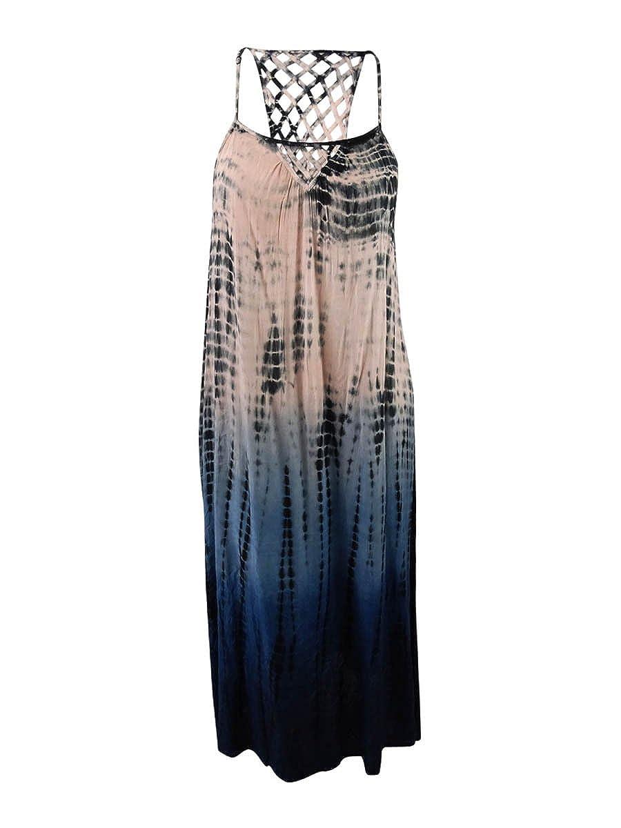 fde75cb1154 Raviya Plus Size Tie-Dyed Lattice-Back Cover-up Dress, Grey, Size 1X: Amazon .co.uk: Clothing