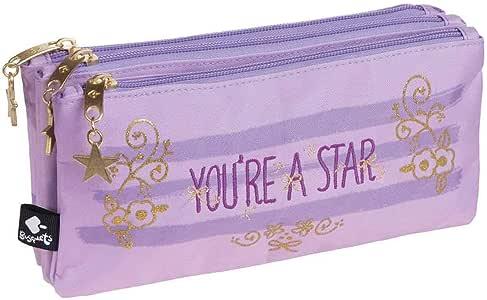 Busquets - Estuche Escolar Triple Star Busquets Violeta: Amazon.es: Oficina y papelería