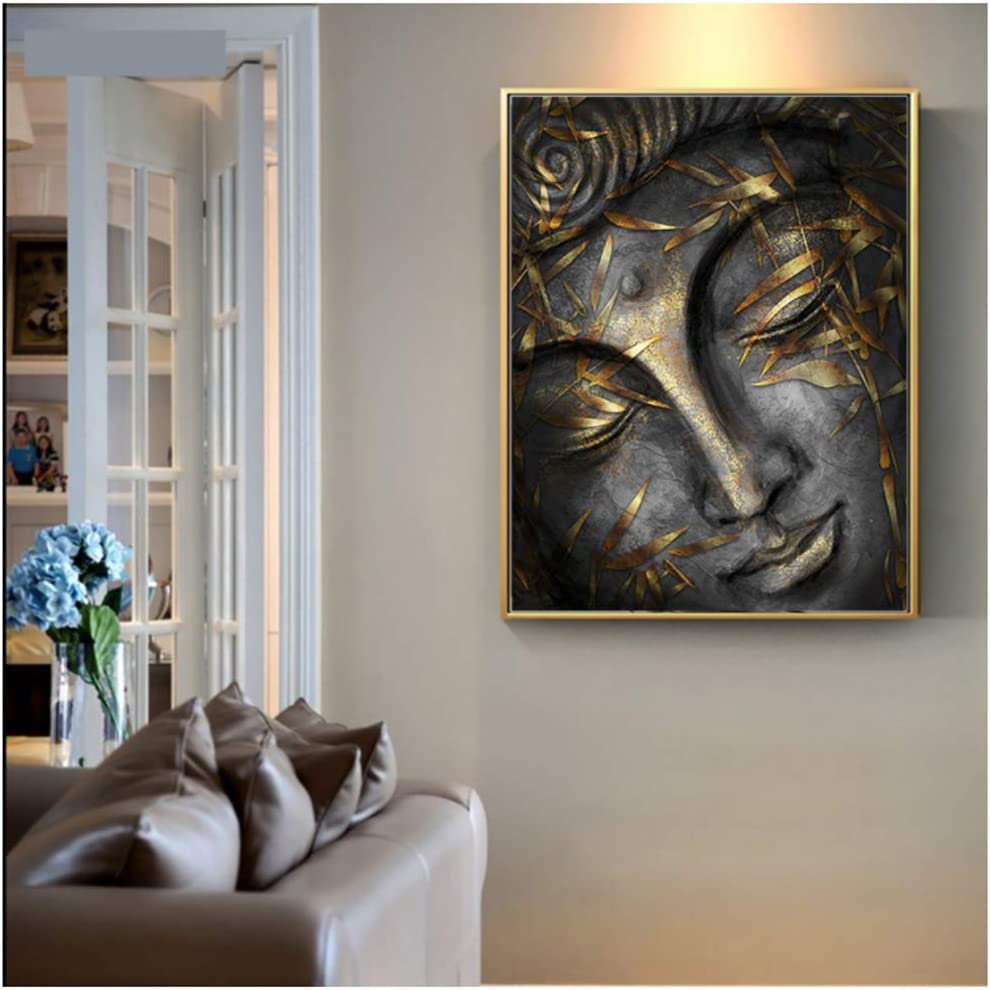 Head of Lord Buddha Statue with Golden Leaves Home Decor Wall Pictures for Living Room Canvas Painting Artwork 60x80cm(23.6