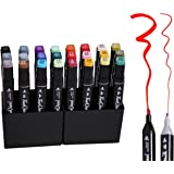 Livzing Thick Thin Bold Paint Fine Lines Dual-Tip Highlighter Permanent Marker In Carrying Case (Multicolour)